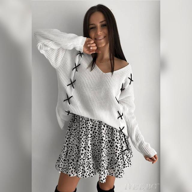Μεσάτη  άσπρη γυναικεία μπλούζα HOLA