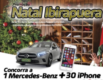 Promoção Natal 2020 Shopping Ibirapuera iPhones e Mercedes