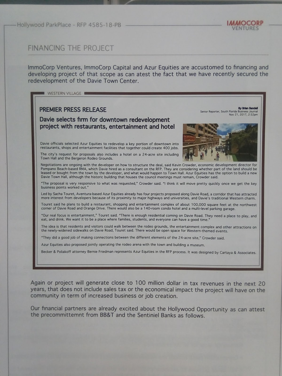 Hallandale Beach/Hollywood Blog: City of Hollywood's Park Avenue RFP