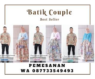 Dress Baju Batik Couple Sarimbit Brokat Modern Kombinasi Motif Cendrawasih untuk Kondangan
