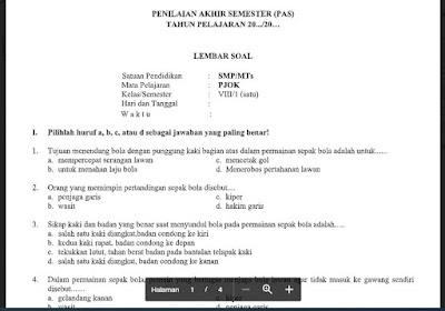 Soal PAS PJOK Kelas 8 Kurikulum 2013 SMP/MTs