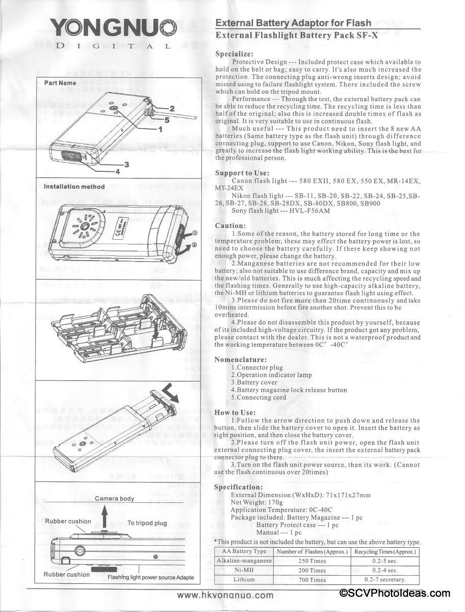 YongNuo SF-18 External Battery Pack manual