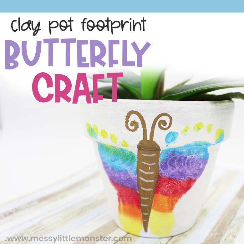 Footprint butterfly clay pot craft