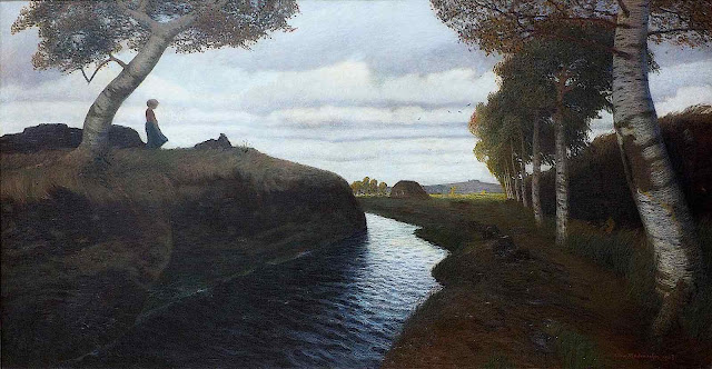 an Otto Modersohn painting of a woman staring at a river