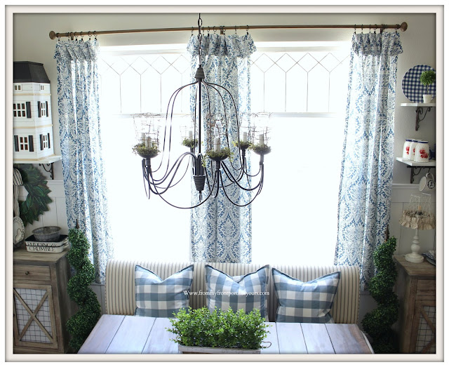 Breakfast -Nook- Makeover-Blue and White-Damask -Curtains-Cottage Style-French Farmhouse-From My Front Porch To Yours