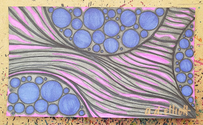 A pen and ink doodle meditation in pink, purple, and grey and a blurb about hummingbirds.