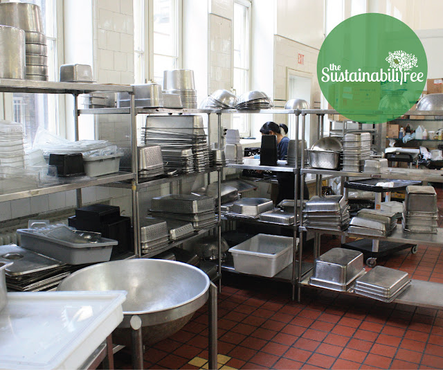 Pots and pans in the back of a dining hall
