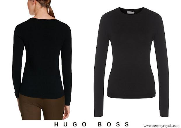 Queen Letizia wore Hugo Boss cashmere sweater black