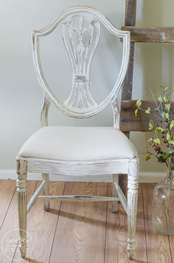 Cottage style dining room chair | www.andersonandgrant.com - Updating A Vintage Chair With White Paint Anderson + Grant