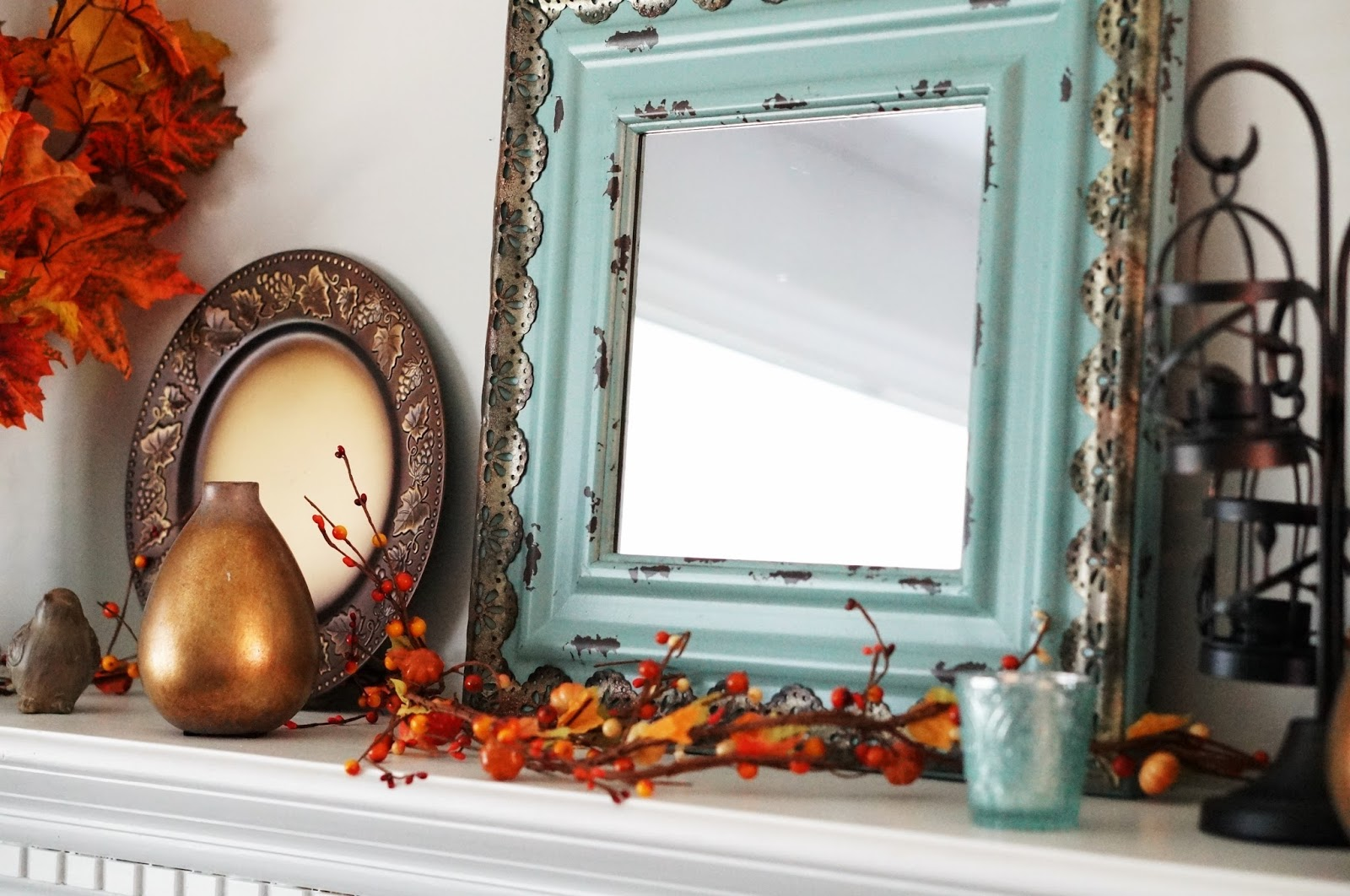 Rebecca Lately Fall Decor 2016 Fall Mantel in Orange Turquoise Bronze Mirror Garland Leaves Large Mantel