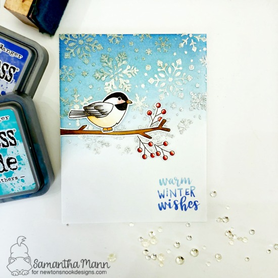 Winter Birds Card by Samantha Mann | Winter Birds Stamp Set and Snowfall Stencil by Newton's Nook Designs #newtonsnook #handmade