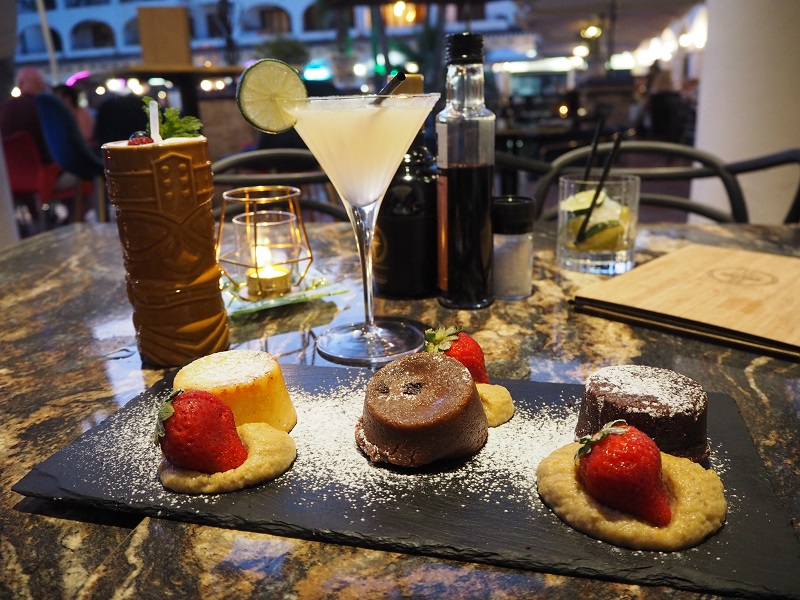 Trio of desserts and cocktails at Rumours by Gatsby in Villamartin Plaza