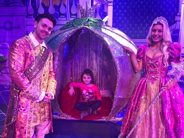 Sophia in carriage meeting Ray Quinn as Prince Charming Panto