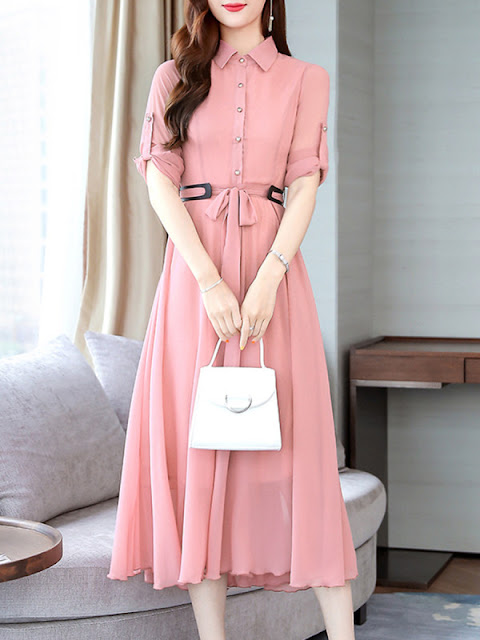 Fold-Over Collar Lightweight Maxi Dress Pink