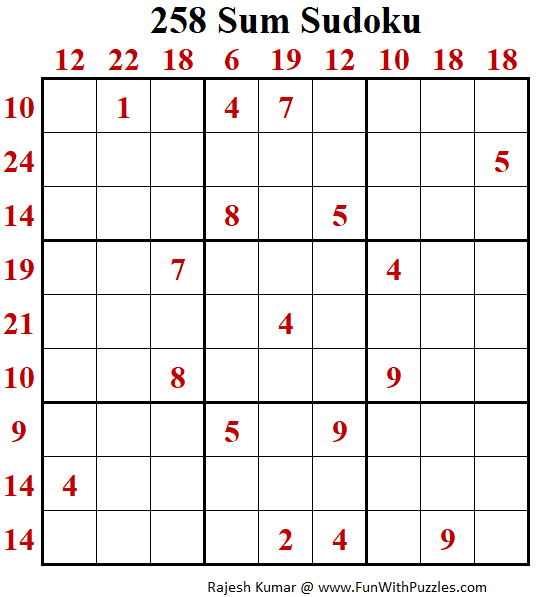 258 Sum Sudoku Puzzle (Fun With Sudoku #318)