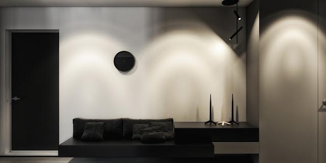 стиль минимализм в черной прихожей