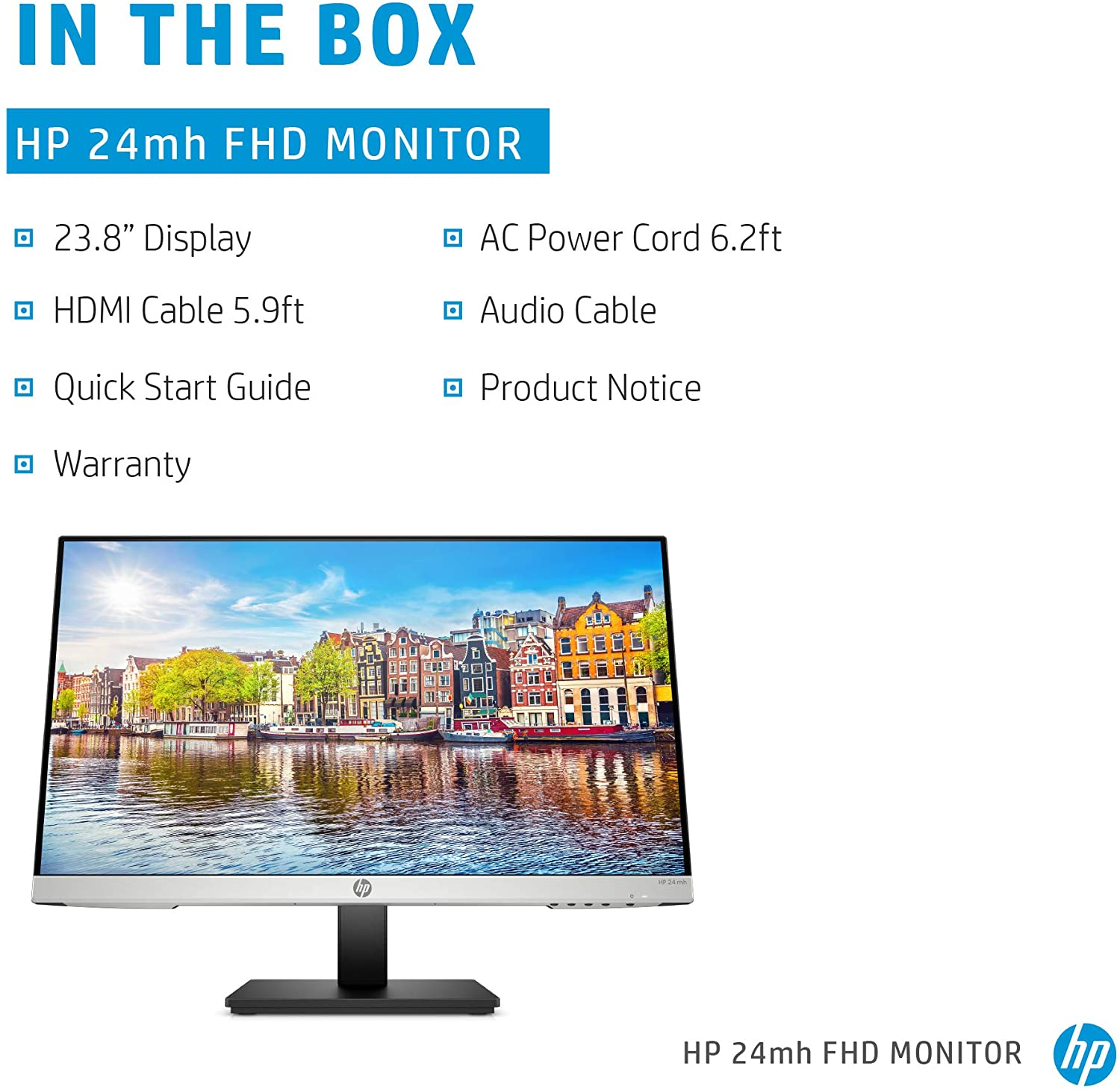 HP 24mh FHD Monitor - Computer Monitor with 23.8-Inch IPS Display (1080p) - Built-In Speakers and VESA Mounting