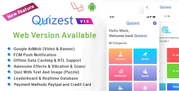 Quizest v1.5 - Complete Quiz Solutions With Android App And Interactive Admin Panel