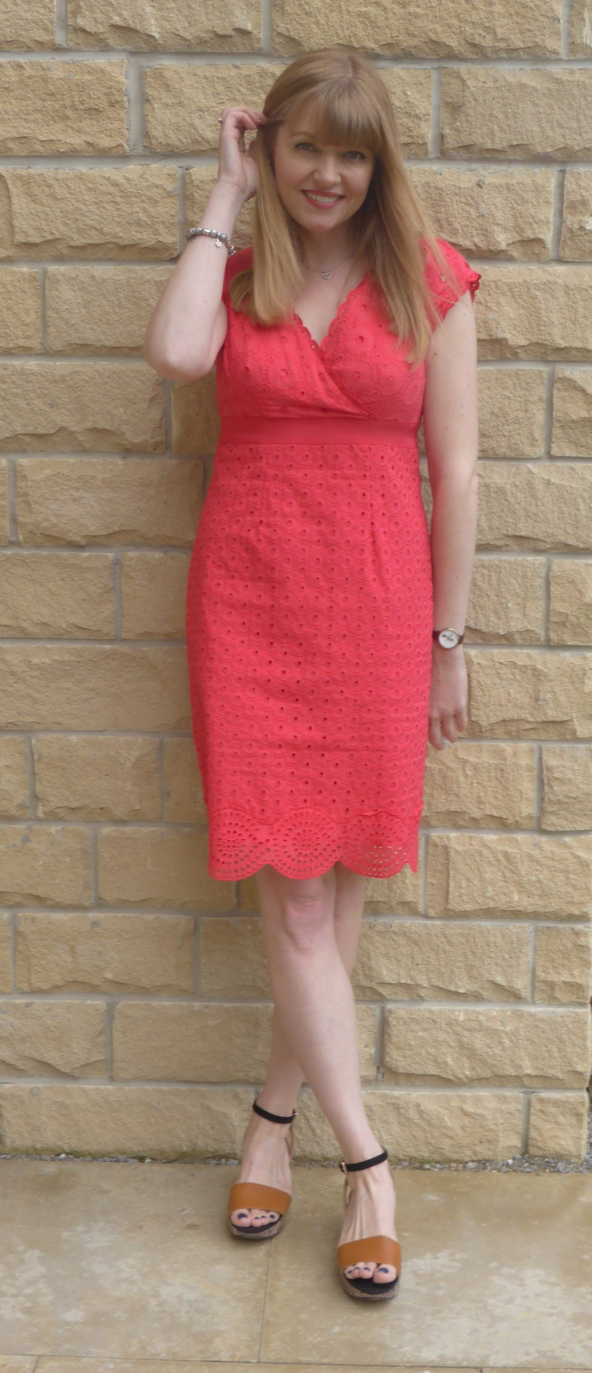 Red broderie anglaise Boden dress with wedge sandals