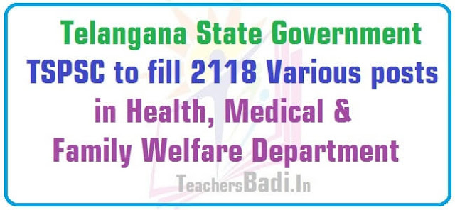 TSPSC,Various posts,Health,Medical & Family Welfare Department