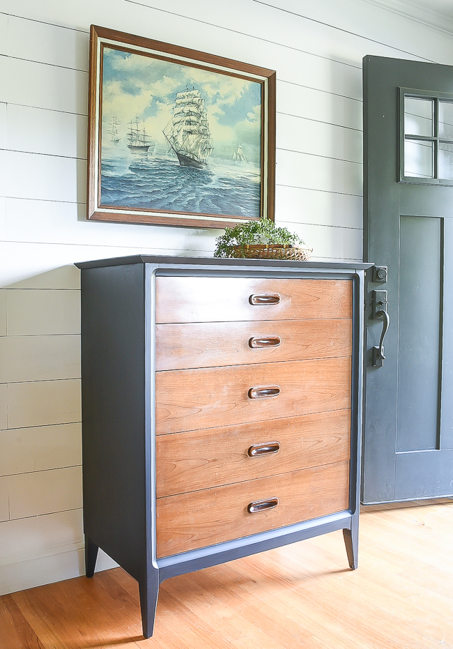 wood and coastal blue MCM dresser makeover