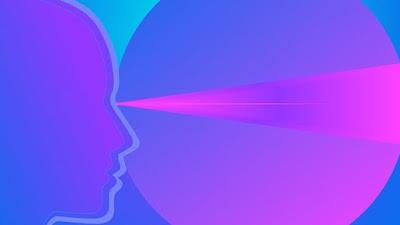 Perfil  de una cara a la izquierda, de donde sale por los ojos una luz rojiza que cruza un fondo azulado con una gran esfera. la nada es el todo también como luz.