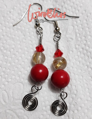 Wire wrapped earrings with coral beads