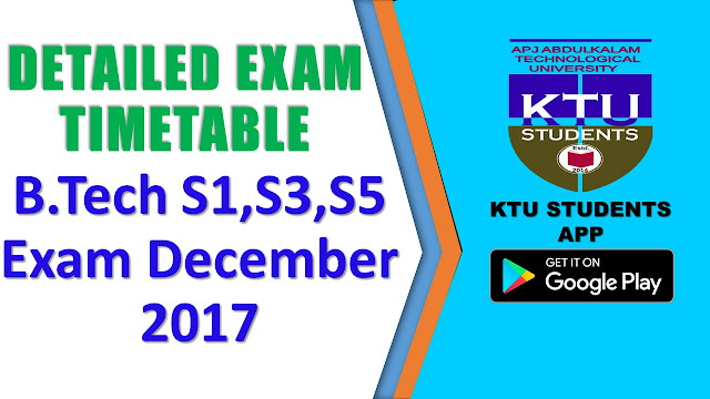KTU exam time tables