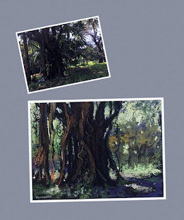 Thumbnail sketch of a tree using a reference photograph from Goa
