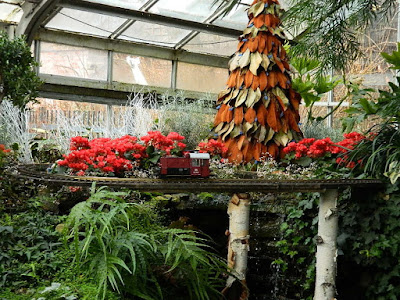 Magnolia leaf topiary and model train at the 2018 Allan Gardens Conservatory Winter Flower Show by garden muses--not another Toronto gardening blog