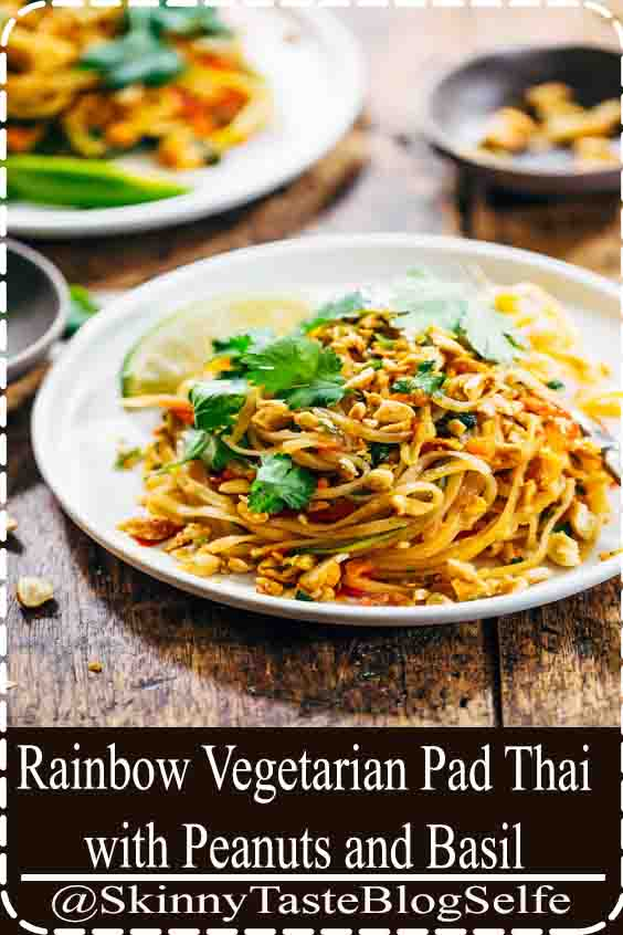 4.6 | ★★★★★ Rainbow Vegetarian Pad Thai with a simple five ingredient Pad Thai sauce - adaptable to any veggies you have on hand! So easy and delicious!#Rainbow #Vegetarian #PadThai #Peanuts #delicious #easy