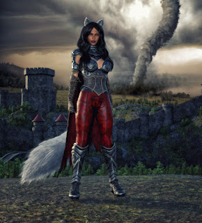 Romantic Fantasy Novel, A She-wolf stands within a castle and a tornado rages in the background