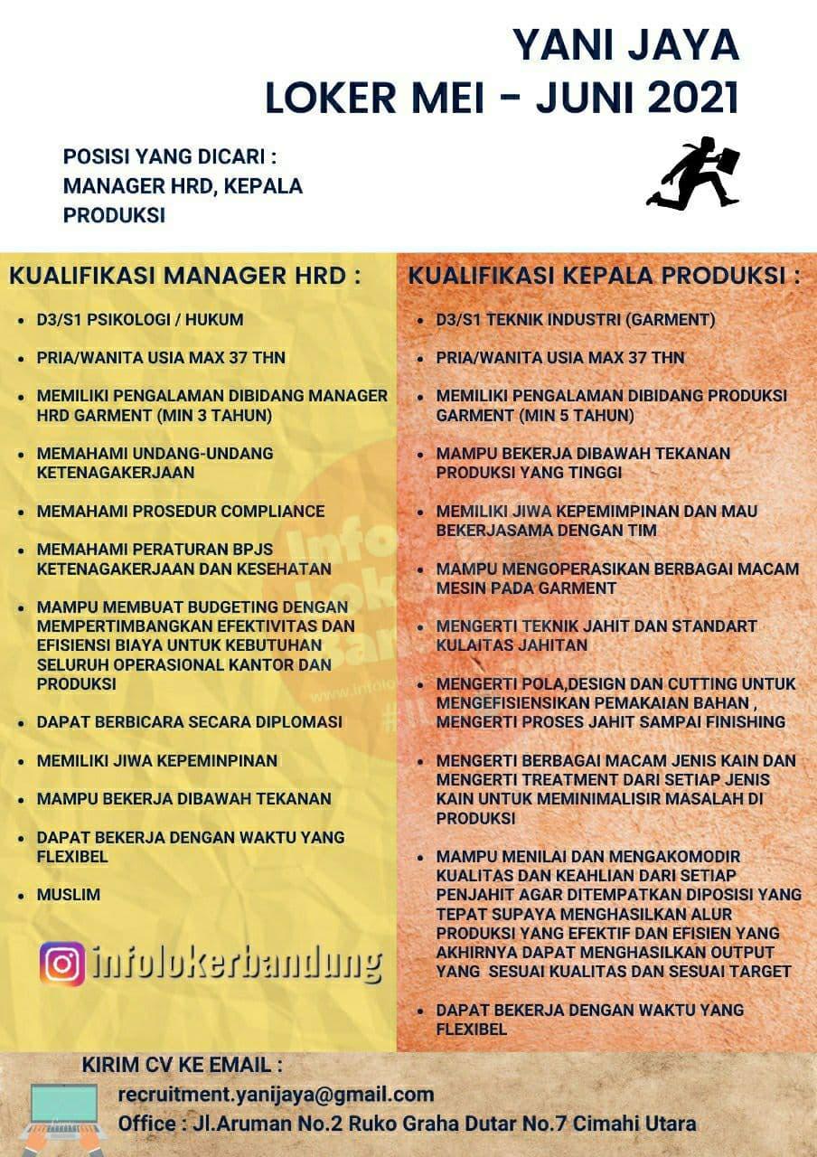 Lowongan Kerja Manager HRD & Kepala Produksi Yani Jaya Bandung Mei 2021