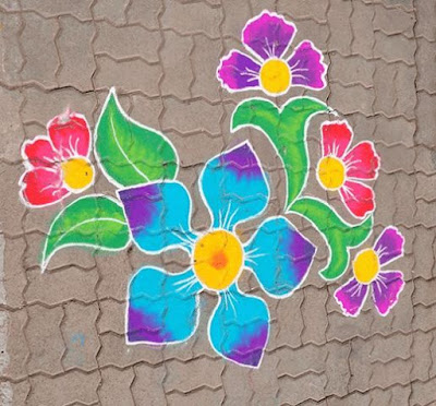 Flower Rangoli Design with Colours for Happy New Year