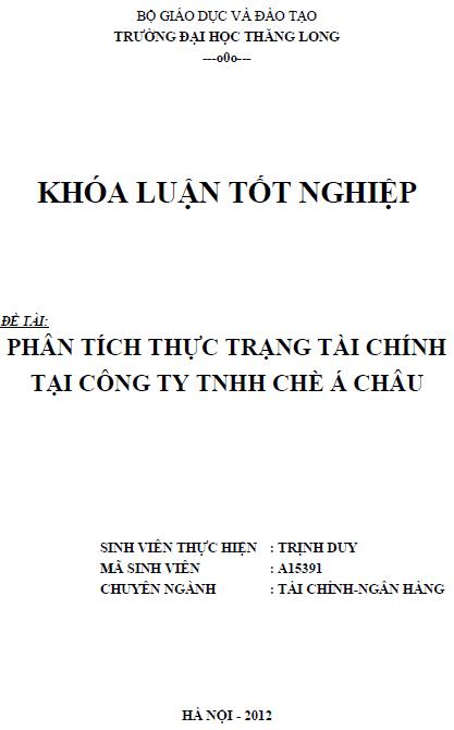 Phân tích thực trạng tài chính tại Công ty TNHH Chè Á Châu