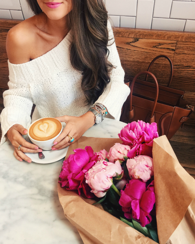 Off shoulder sweater - love the peonies
