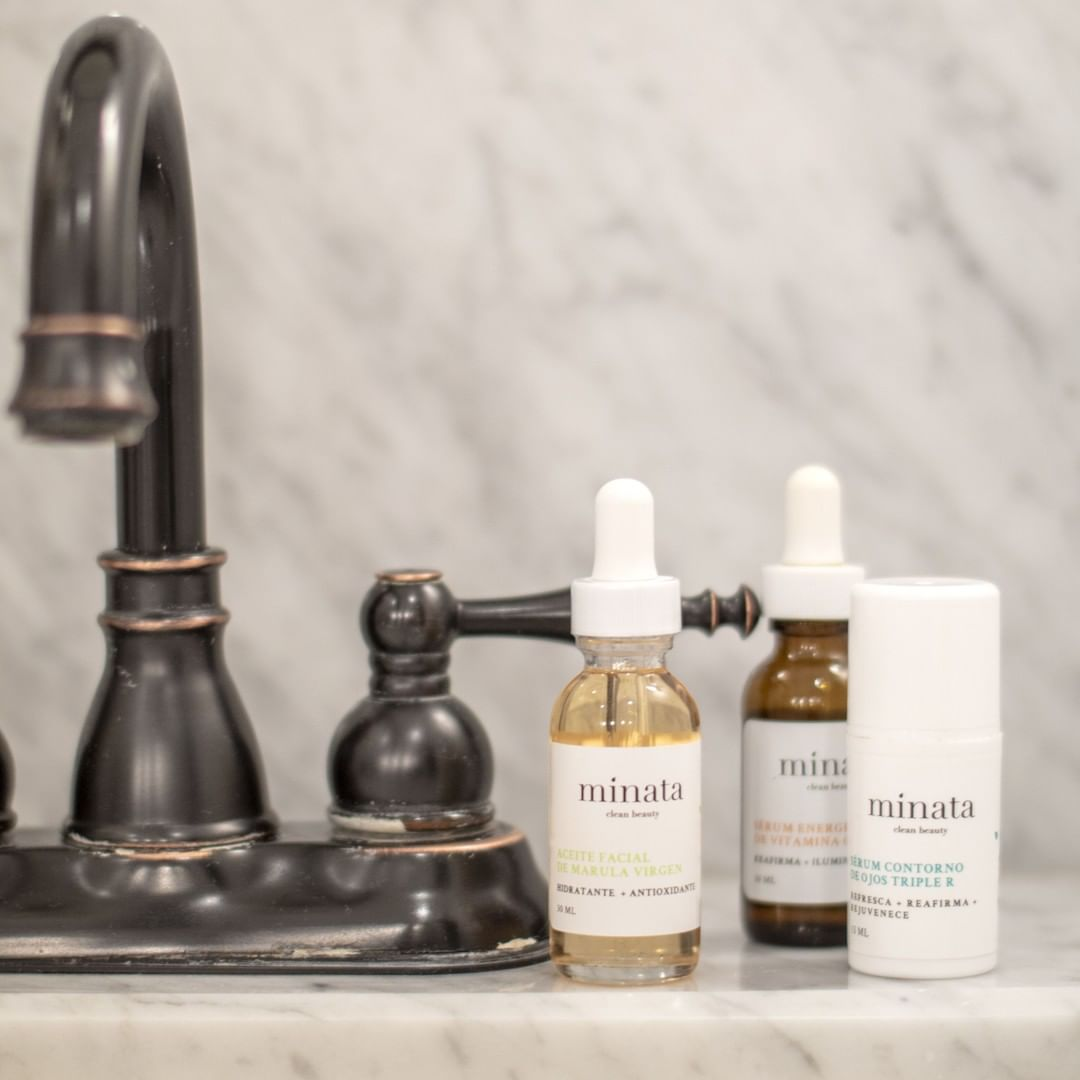 Pack clean beauty de Minata cosmética chilena serums y aceite de Márula virgen