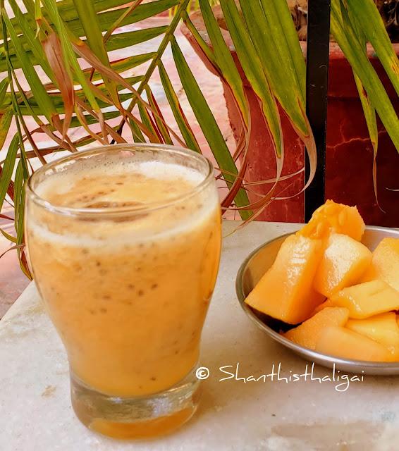 Cantaloupe-smoothie, Muskmelon-chia seeds-smoothie
