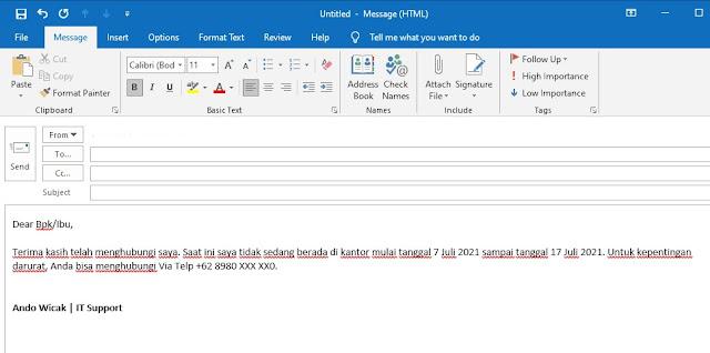 Cara Membuat Balasan Email Otomatis Outlook
