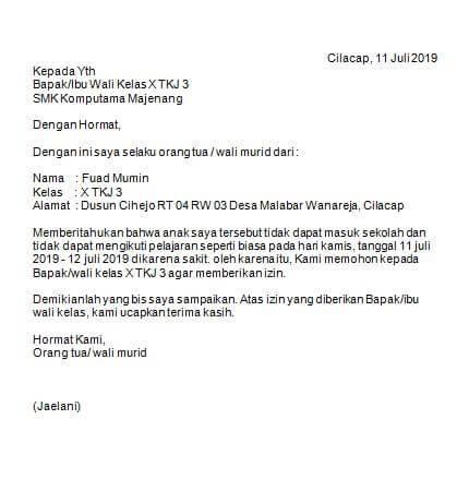 Contoh Surat Izin Tidak Masuk Sekolah Karena Sakit Untuk Sd