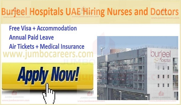 Hospital jobs with Accommodation in UAE,