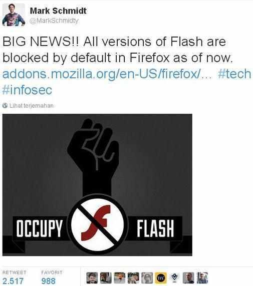 Browser Mozilla Firefox Blokir Plugin Flash Karena Masalah Keamanan