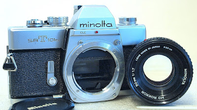 Minolta SRT-101b (Chrome) Body #364, Minolta MD Rokkor 50mm F1.7 #368