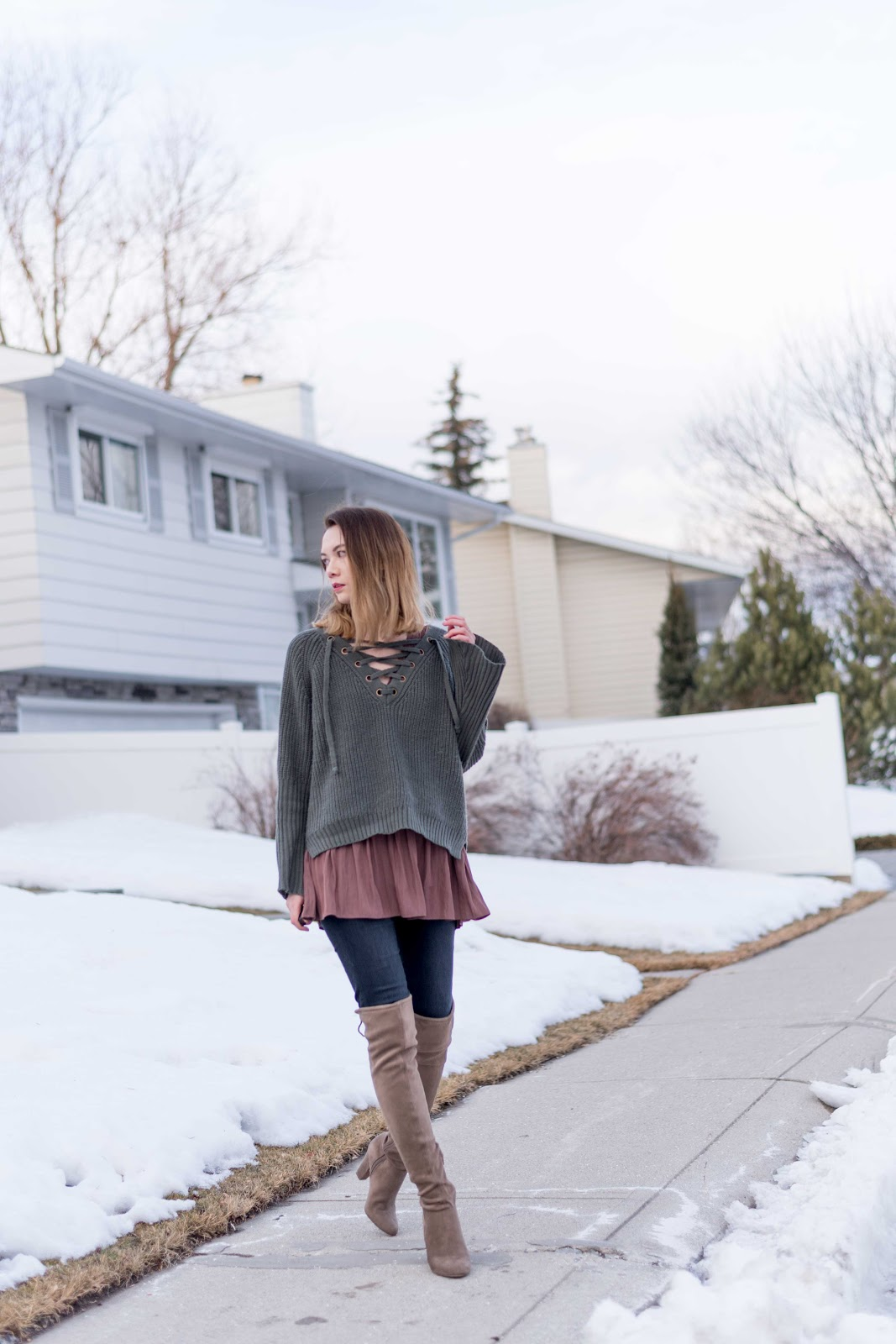 zaful review, lace up sweater, lace up top, over the knee boots, jbrand, aritzia dress, winter fashion, calgary fashion, how to layer