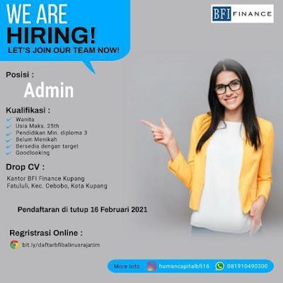 Loker Kupang BFI Finance Sebagai Admin