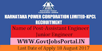 Karnataka Power Corporation Limited Recruitment 2017– 348 Assistant Engineer, Junior Engineer