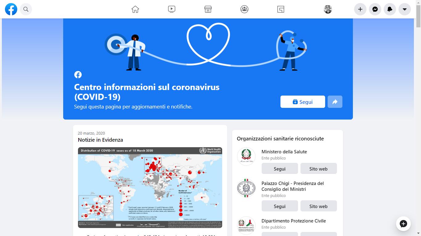 [Attivo] Coronavirus, Facebook lancia il suo Centro Informazioni