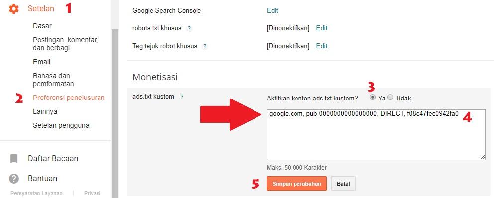 Memasang Ads.txt Di Blogger