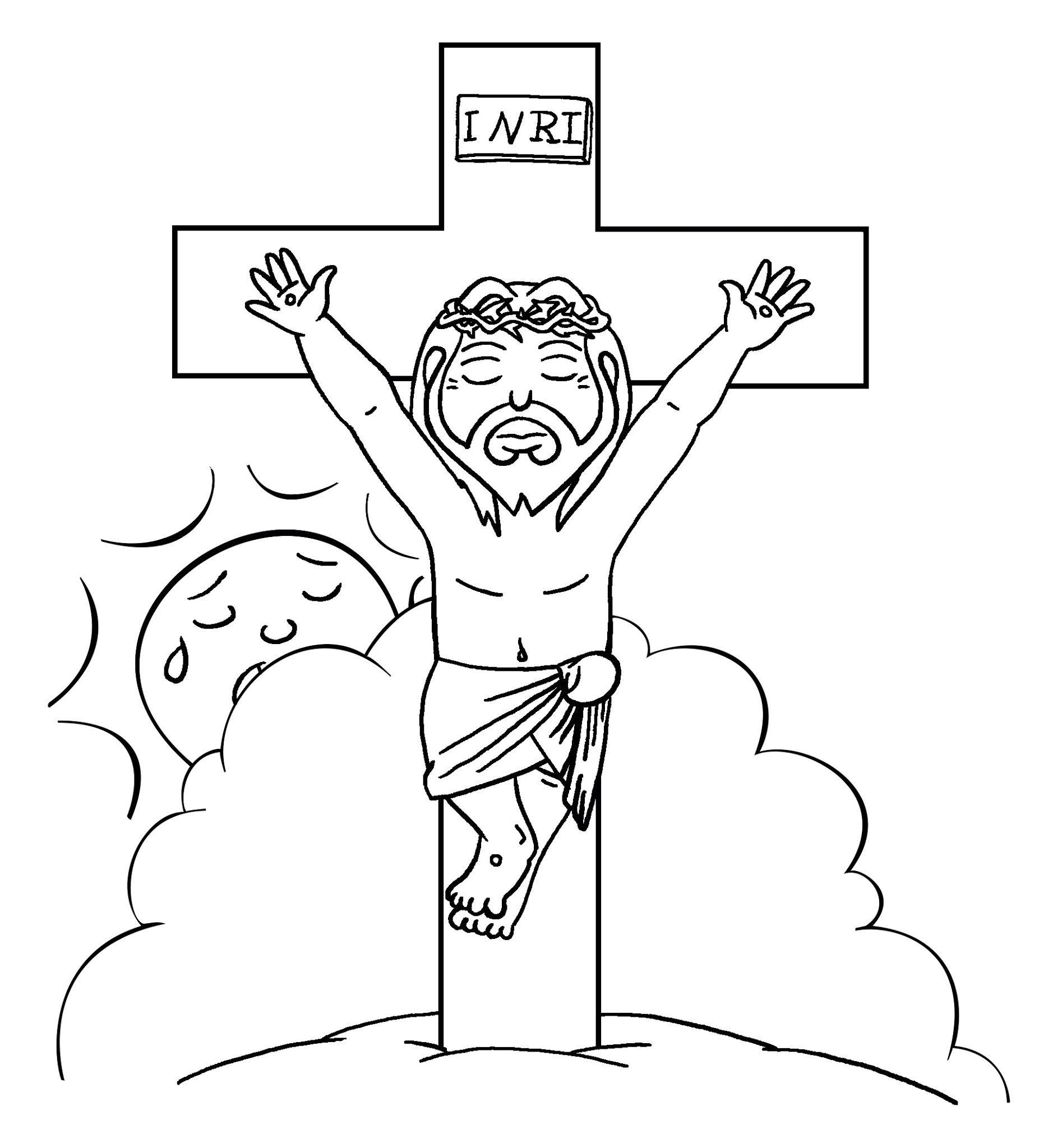 Jesus crucificado - para imprimir e colorir