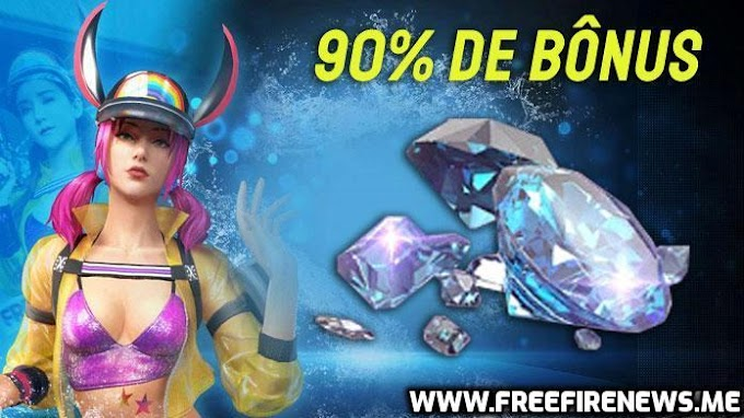 Get 90% Bonus For Each Diamond Pack First Time Top-Up at Free Fire!